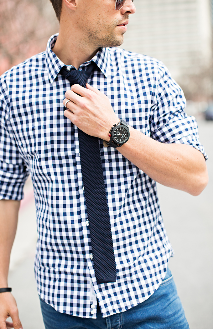 4 ways to make a dress shirt and tie more casual hello his for Mens blue gingham shirt
